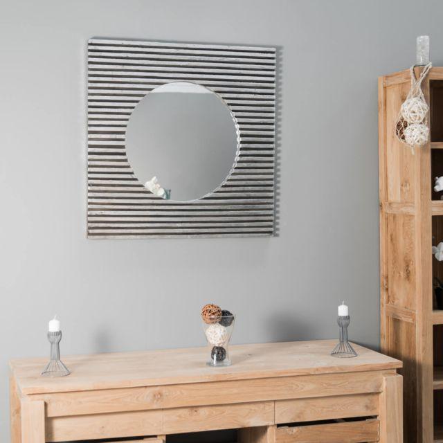 Wanda Collection Miroir art déco carré en bois patiné argent 80 x 80 cm
