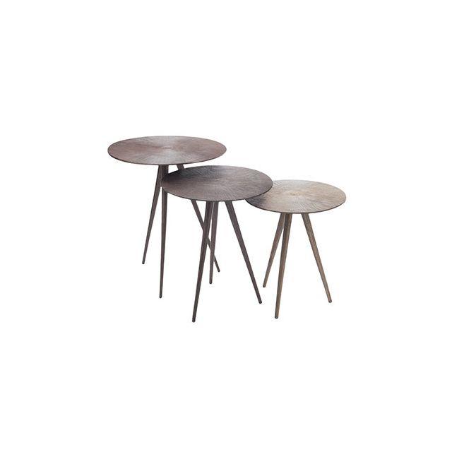 Table gigogne ronde 40x47cm en alluminium gris