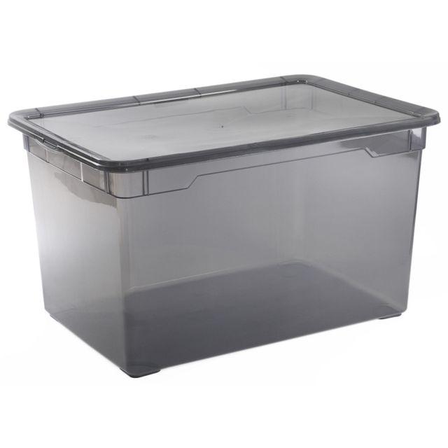 Carrefour Boite De Rangement Basic Box Noir Fumé 46l