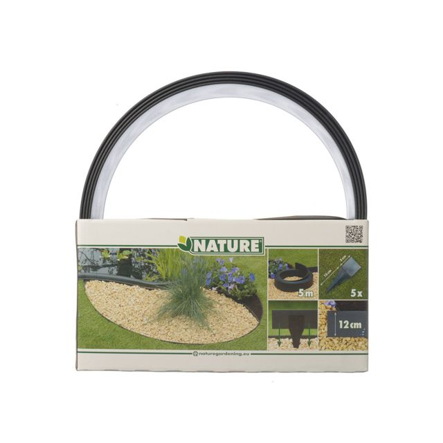 NATURE - Bordure en polyuréthane pour jardin et bassin Noir - 5 m x ...