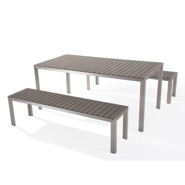 BELIANI - Table de jardin et bancs en bois composite gris 180 cm ...