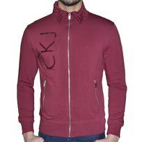 Calvin Klein - En Solde Veste Zippee - Col Polo - Homme - Ck9064 - Bordeaux