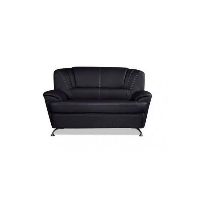 VENTE-UNIQUE Canapé 2 places en simili FOCUS - Noir