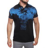 Just Cavalli - Polo homme manches courtes imprimé noir / bleu