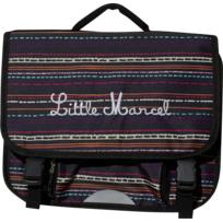 LITTLE MARCEL - Cartable noir à rayures - 2 Compartiments - L 38cm