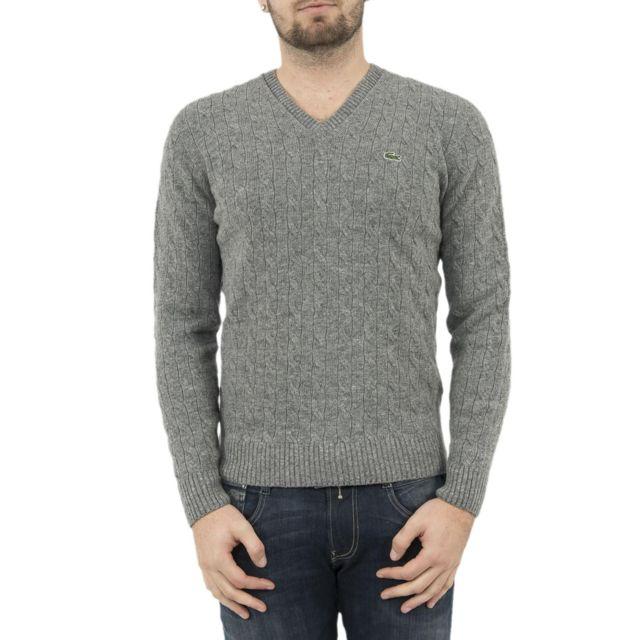 388c8c529e Lacoste - Pull hiver ah2892 gris - pas cher Achat / Vente Pull homme -  RueDuCommerce