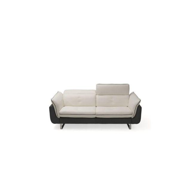 Sans Marque Positano Canape Cuir 3 Places - Blanc Et Noir - Made In Italy - L 205 X P 103 X H 72 Cm