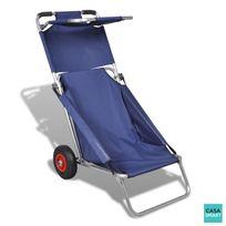 Casasmart - Chariot de plage bleu 3 en 1 multifonctionnel