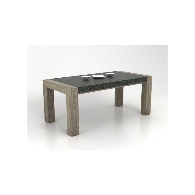 Marque Generique Table à manger Meteorite - 6 couverts - Mdf plateau effet granite