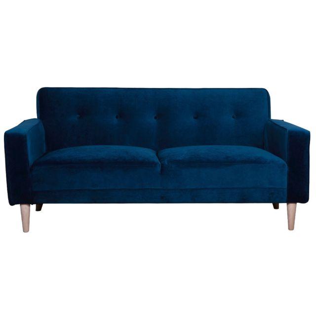Miliboo Canapé design 3 places velours bleu nuit Cigale