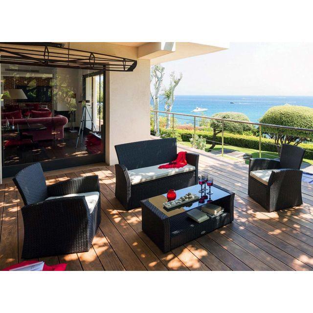 hespéride - salon de jardin résine tressée noir coussins sable