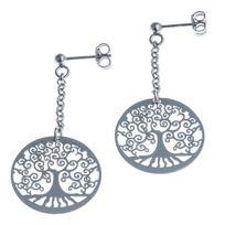 Fantzi - Boucles d'oreille l'arbre de vie en argent rhodié