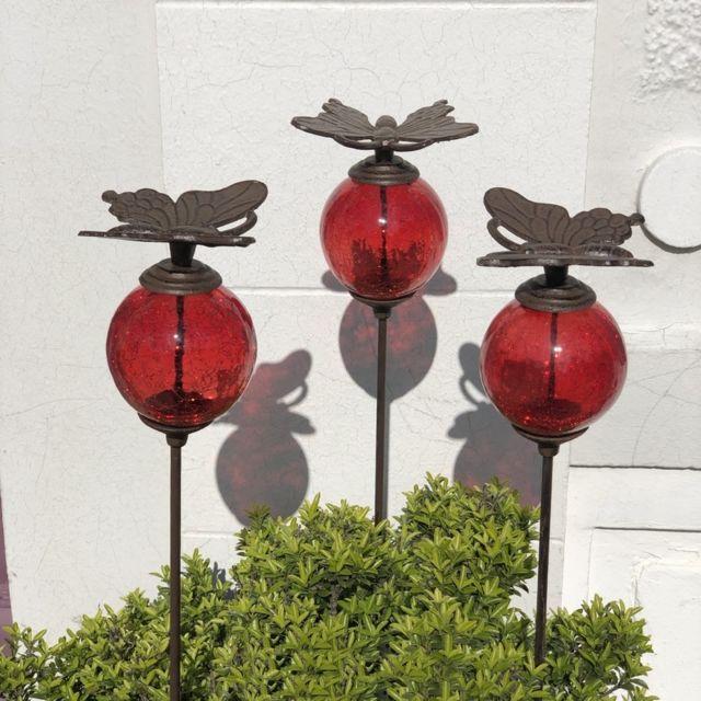 L'ORIGINALE Deco 3 Pics Tige Tuteurs Porte Plante de Jardin Rouge Papillon Marron 117 cm