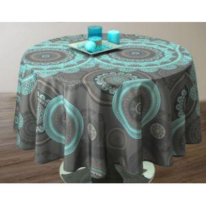 le linge de jules nappe anti taches mandala turquoise taille ovale 150x240 cm bleu pas. Black Bedroom Furniture Sets. Home Design Ideas
