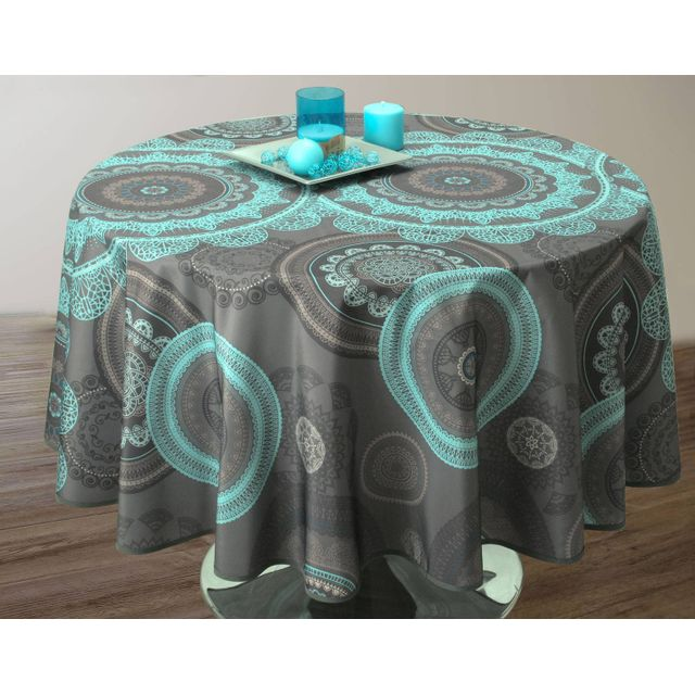 le linge de jules nappe anti taches mandala turquoise. Black Bedroom Furniture Sets. Home Design Ideas