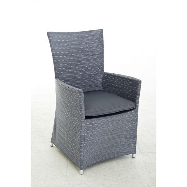Structure en aluminium recouverte de textilène, coloris gris argenté. Vendu avec coussin en polyester gris