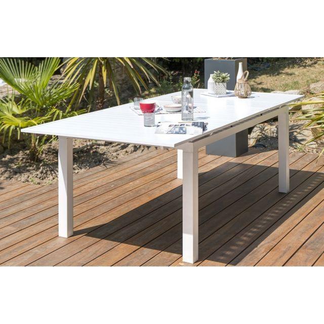 DCB GARDEN - Table alu blanc à rallonge automatique blanche - pas ...