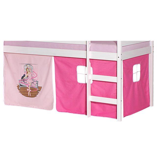 Lot De Rideaux Cabane Pour Lit Sureleve Superpose Mi Hauteur Mezzanine Tissu Coton Motif Danseuse Rose