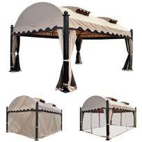 Mendler - Pergola Daroca, pavillon de jardin, cadre stable à 10cm avec paroi et moustiquaire, 4,5x3,5m