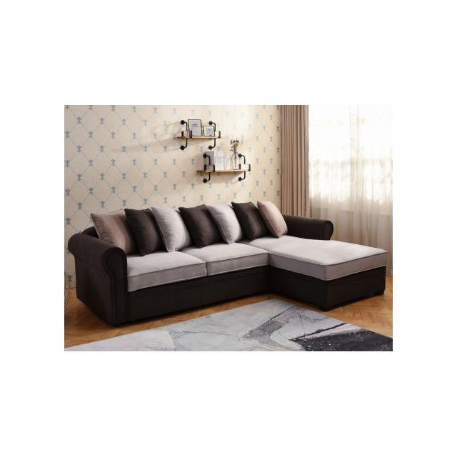 Canapé d'angle convertible MELBA en tissu - Gris clair et chocolat - Angle droit