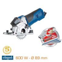 SCHEPPACH - Mini scie circulaire laser 600W Ø 89 mm - base à onglet + 3 lames & rails PL 285 5901805901
