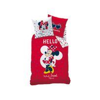 Disney - Parure housse de couette 140x200cm 100% coton + taie Hello cœur rouge Minnie