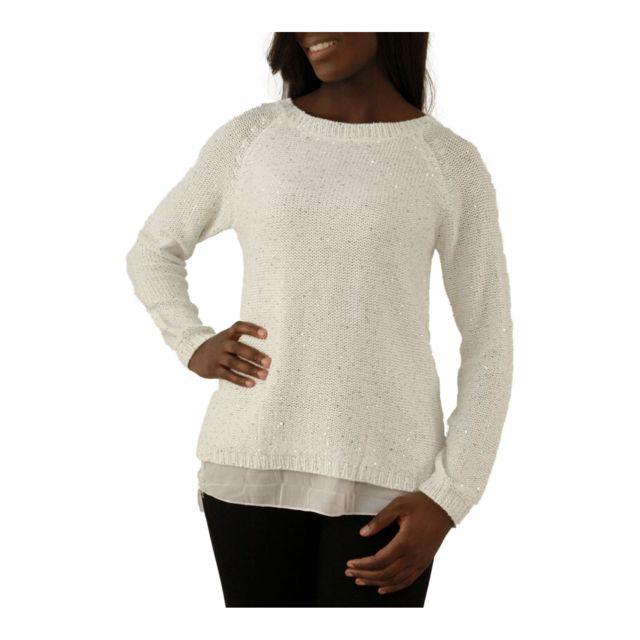 e5630793f35fc Zonedachat - Pull sequins avec voilage transparent blanc - L XL - Blanc - pas  cher Achat   Vente Pulls femme - RueDuCommerce