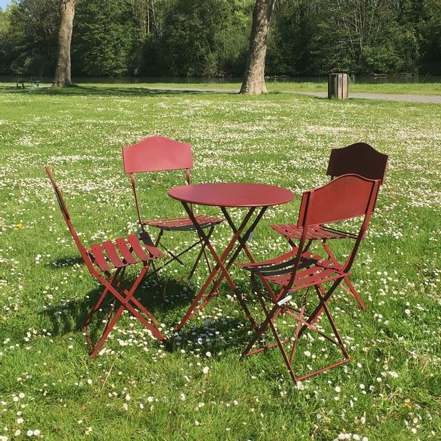 Chemin de campagne table 4 chaises de jardin en fer - Salon de jardin bistrot ...