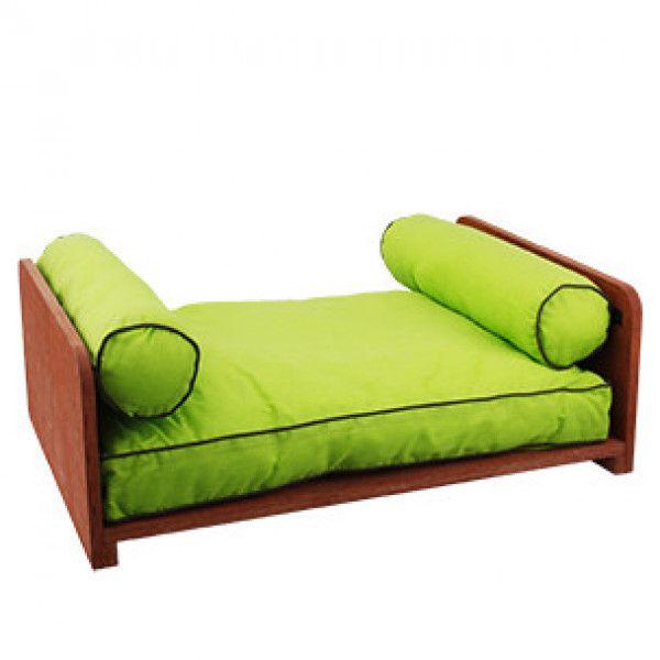 flamingo lit en bois et son coussin vert pour chien pas cher achat vente corbeille pour. Black Bedroom Furniture Sets. Home Design Ideas