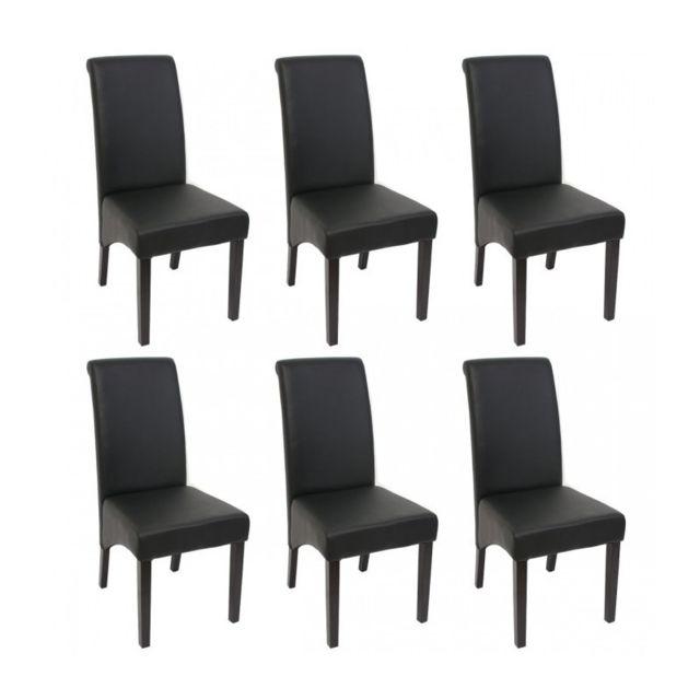Decoshop26 Set De 6 Chaises De Salle A Manger En Simili Cuir Noir