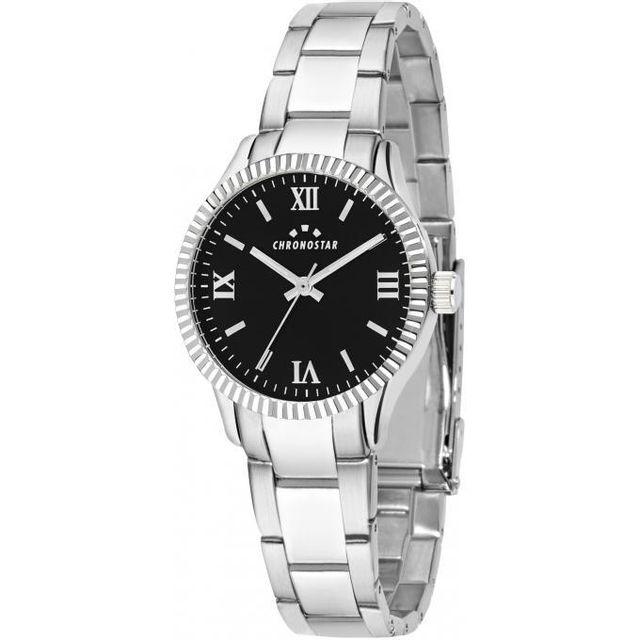montre noir et argent femme