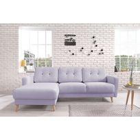 Bobochic - Oslo - Canapé d angle gauche - Violet poudré - 225x147x86cm