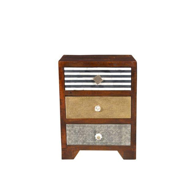 Tousmesmeubles Chiffonnier 3 tiroirs - Bohemian Marron - L 45 x l 33 x H 60