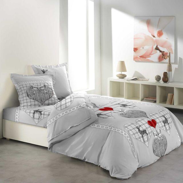 ligne douceur cdaffaires so parure drap 4 p 140 x 190 cm flanelle imprimee allover coeur. Black Bedroom Furniture Sets. Home Design Ideas