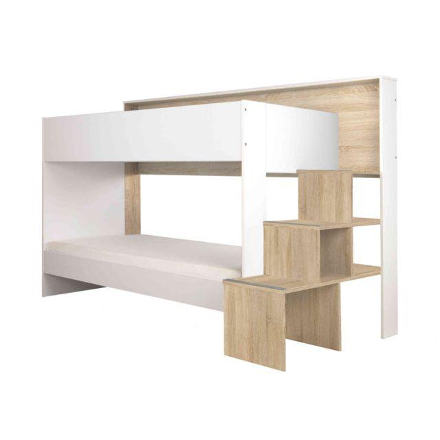 TERRE DE NUIT Lit superposé 90x200 en bois imitation chêne clair et blanc