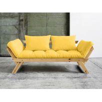 Karup - Canapé convertible en bois miel avec matelas futon Bebop - Jaune