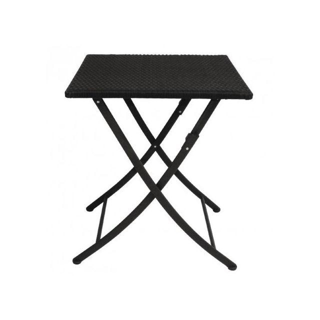 Materiel Chr Pro Table carrée pliante rotin Pe Bolero 600 mm