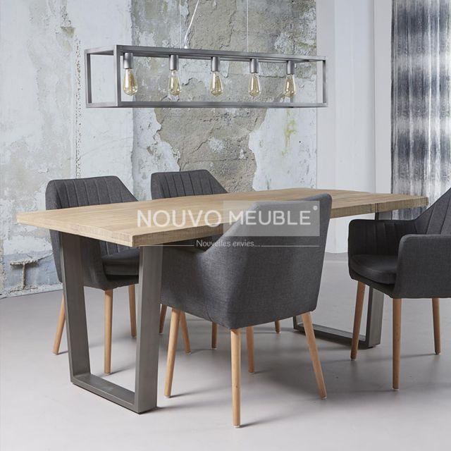 Nouvomeuble Table à manger 180 cm en bois clair Salem 2