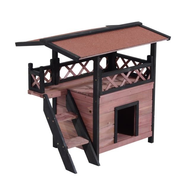 PAWHUT - Niche villa pour chien chat terrasse couverte échelle coloris  bordeaux noir 76BN f91542fbd4fb