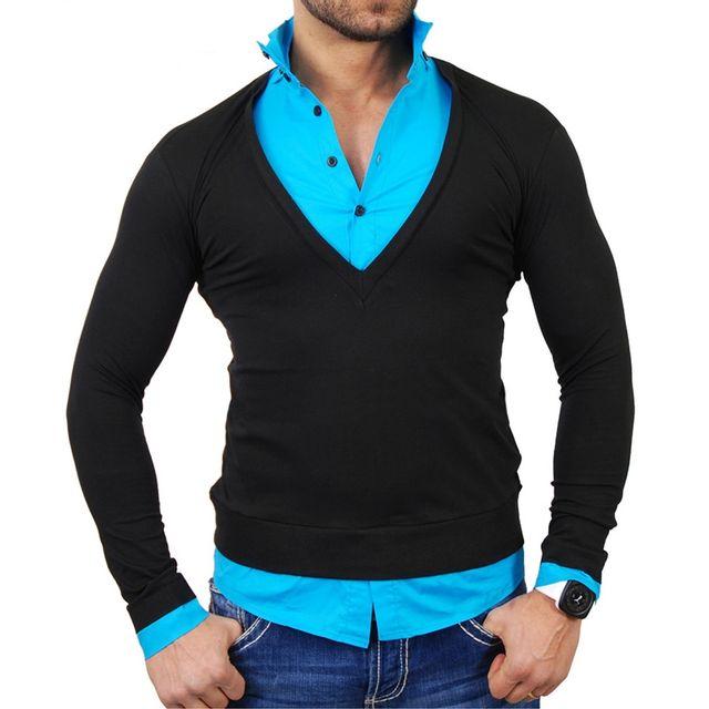 TAZZIO Pull chemise homme Pull Tz724 Noir et bleu