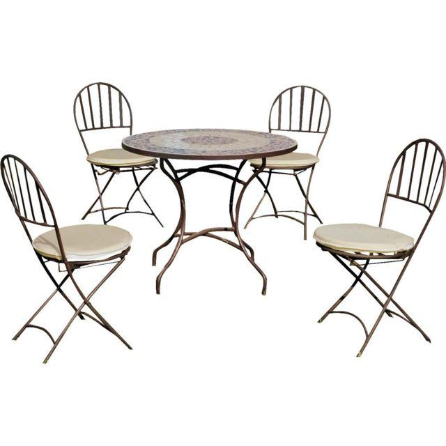 HEVEA - Salon de jardin 4 personnes Provence-Nice Bronze - pas cher ...