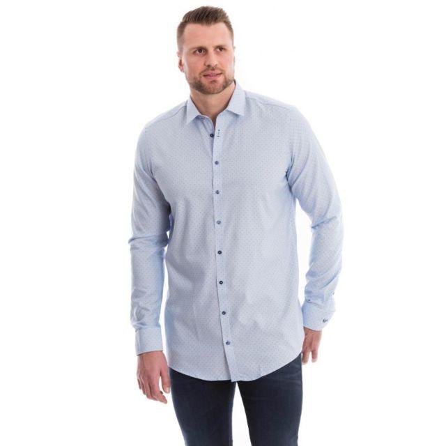 Venti Chemise bleu ciel à petits motifs ronds bleu marine