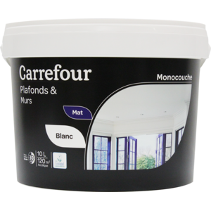 carrefour peinture monocouche plafonds et murs 10l pas. Black Bedroom Furniture Sets. Home Design Ideas
