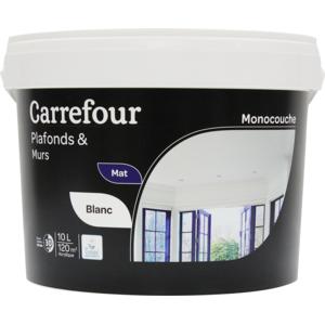carrefour peinture monocouche plafonds et murs 10l pas cher achat vente sous couche. Black Bedroom Furniture Sets. Home Design Ideas