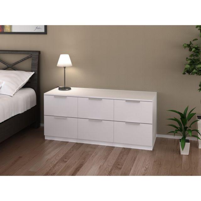 Ma Maison Mes Tendances Commode 6 tiroirs blanche 120 cm Arada - L 120 x l 41.4 x H 52.5