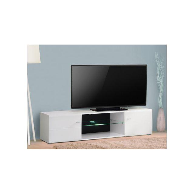 MARQUE GENERIQUE Meuble TV ELIAZ - MDF Laqué blanc & verre trempé - LEDs - 2 portes & 2 niches
