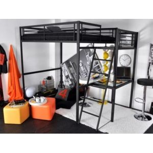 vente unique lit mezzanine casual ii couchage 140x190cm plateforme bureau coloris. Black Bedroom Furniture Sets. Home Design Ideas