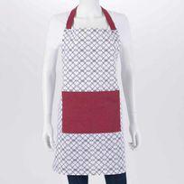 Amadeus - Tablier de cuisine 100% coton motif carreaux relief noir/blanc/rouge 70x80cm Grenade