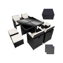 Helloshop26 - Salon de jardin rotin résine tressé synthétique noir 9 pièces 2108034