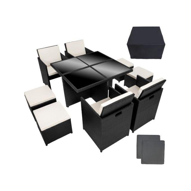 HELLOSHOP26 Salon de jardin rotin résine tressé synthétique noir 9 pièces 2108034